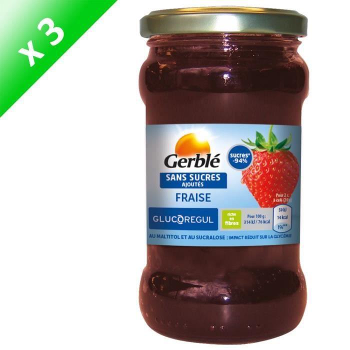 [LOT DE 3] GERBLE Confiture de fraise sans sucres ajoutés - 320 g