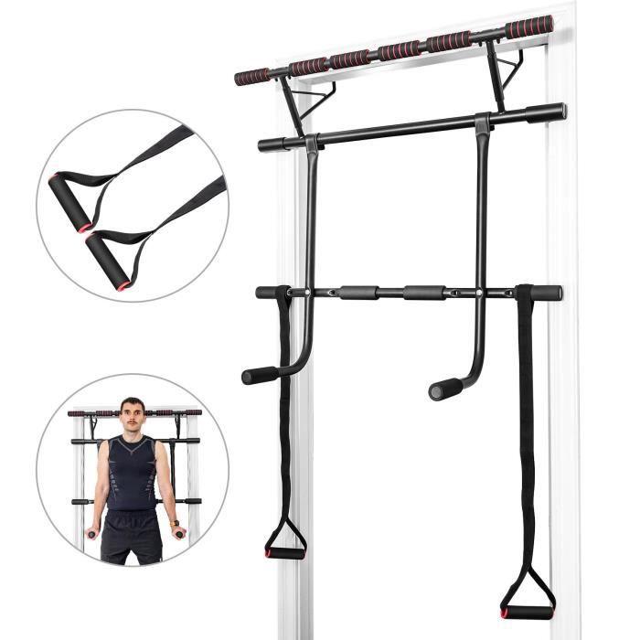 COSTWAY Barre de Traction à Montage Mural Barre de Fitness pour Exercices avec 2 Sangles Jusqu'à 200KG 100 x 32,5 x 78,5 CM