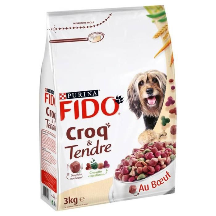 Fido Croquettes Croq et Tendre Chiens au Boeuf 3Kg (lot de 3)