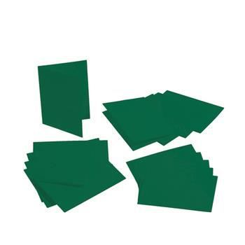 Lot de 5 Cartes double rectangulaires et enveloppes, Format A6, 10,5 cm x 15 cm - Vert sapin