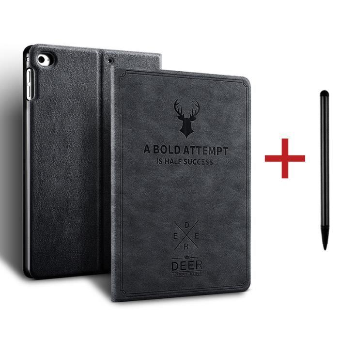 Coque iPad 8 10.2- 2020 [ +Stylet ] Cerf Réveil/Sommeil Automatique Case Housse Protection Étui iPad 8 10.2- 2020 -Noir