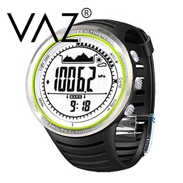 VAZ®Montre baromètre à bracelet digital professionnelle Altimètre Thermomètre podomètre Montre Sports de plein air Mltifonction