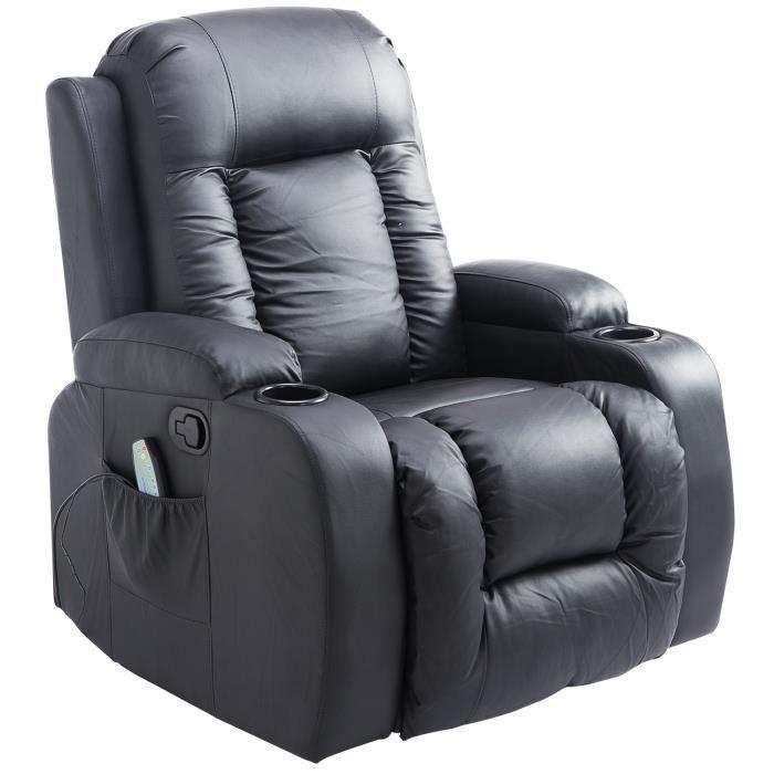 Fauteuil de massage et relaxation électrique chauffant inclinable repose-pied télécommande noir 90x93x103cm Noir