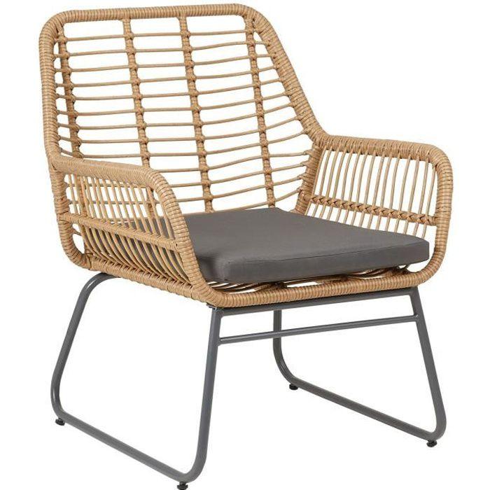 Chaise de salle à manger BOREAL fauteuil d'intérieur ou d'extérieur en imitation rotin, piètement en acier noir, avec 1 coussin