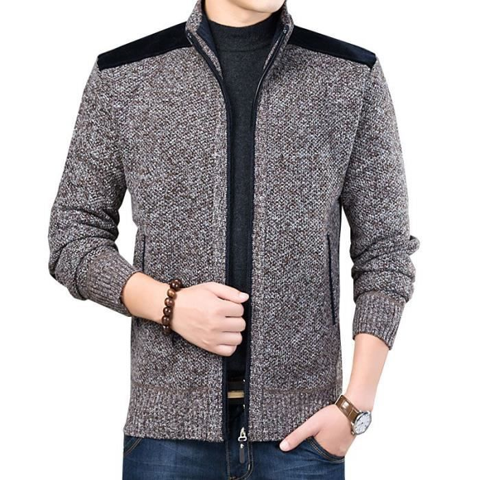 Cardigan Homme Chaud Doublee Polaire Slim Fit Gilet Hiver