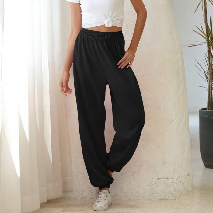 Pantalon de jogging de sport à taille élastique pour femmes - Noir