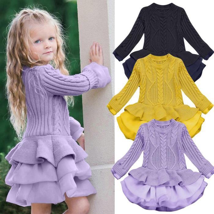 Enfants filles chandail tricoté hiver pulls Crochet Tutu robe hauts vêtements WN2926