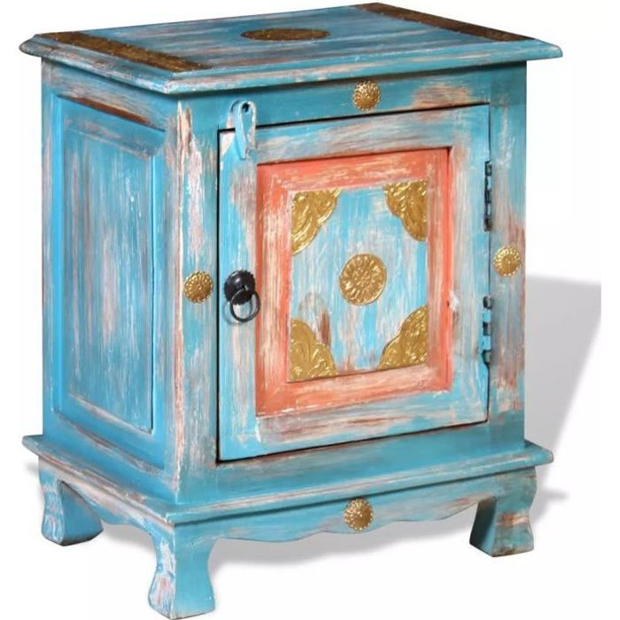 Table de chevet Bois de manguier40 x 30 x 50 cm indien vintageTable de Nuit scandinave Meuble de rangement Contemporain massif Bleu