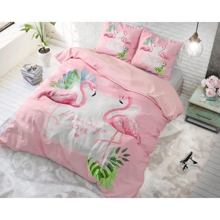 Housse de couette avec 2 taies d'oreiller 100% Cotton200X200-220Sunny Flamingo's Pink