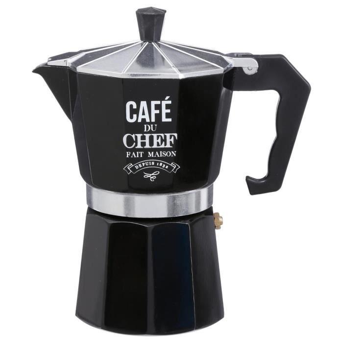 Secret de Gourmet - Cafetière italienne 6 tasses Noir
