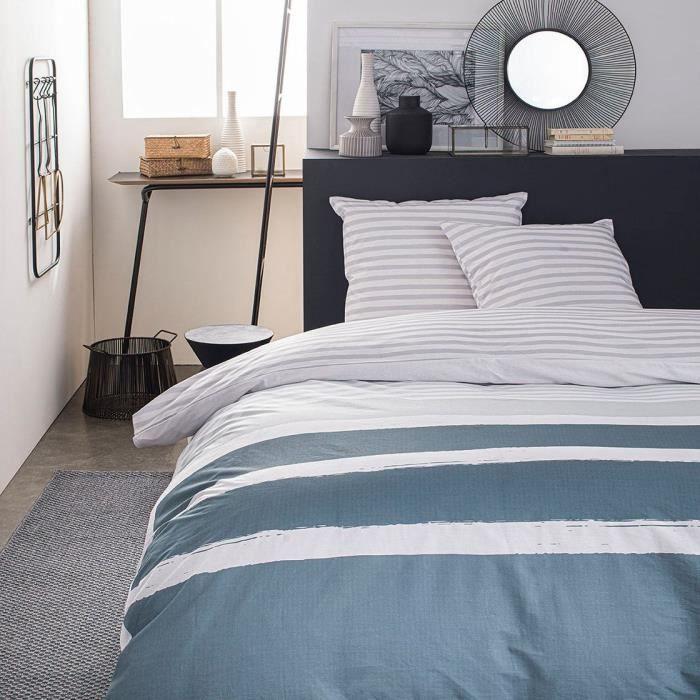 TODAY Parure de lit SUNSHINE 5.49 - 2 personnes - 220 x 240 cm coton - Imprimé Bleu Graphique TODAY