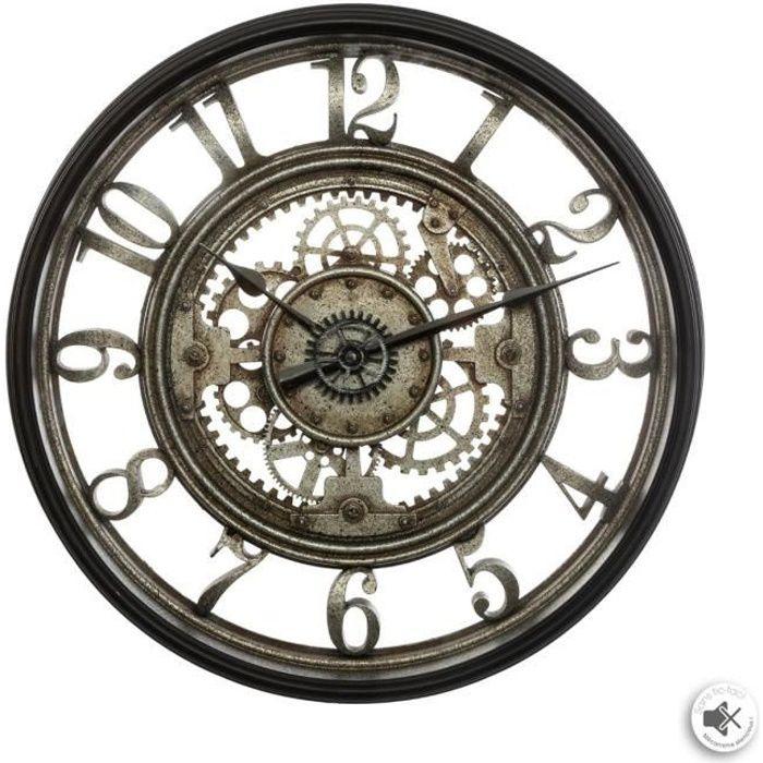 P5695 - Horloge Murale Gris Vert Allen Designs - 39x21.5 cm Chat et Souris