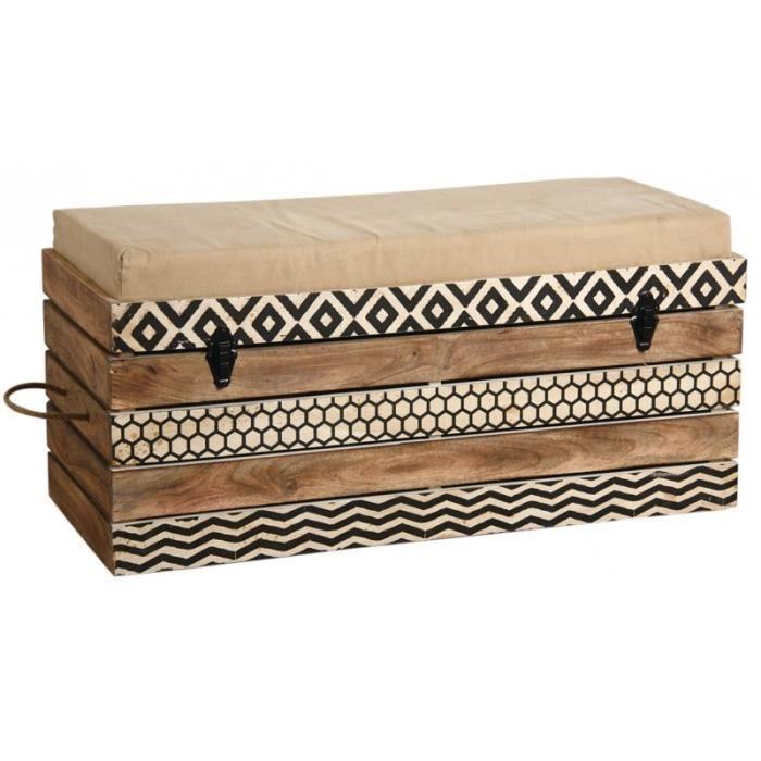 Banc coffre de rangement en bois de manguier - Achat / Vente banc - Cdiscount