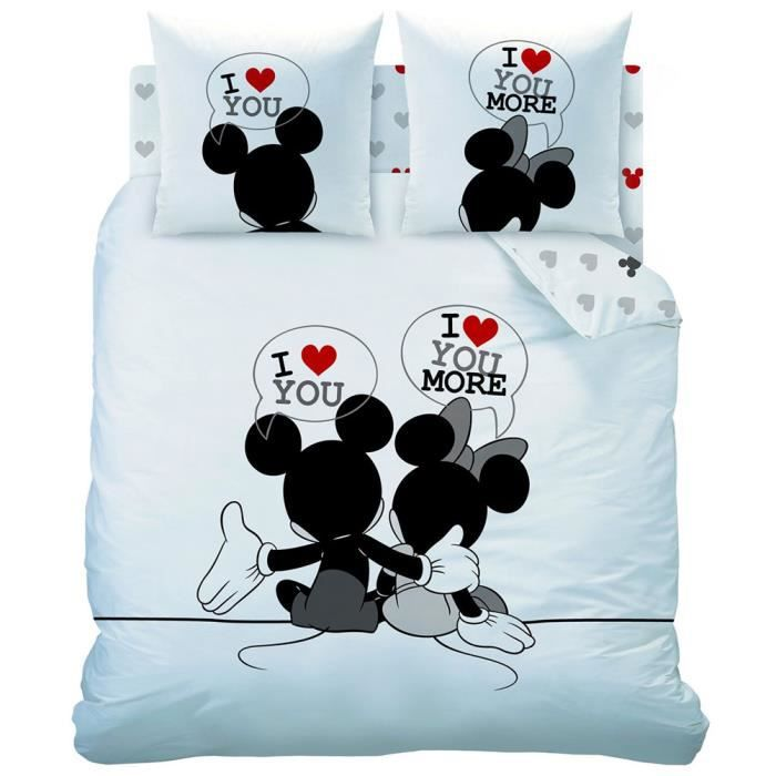 parure de lit mickey et minnie 200 cm achat vente parure de drap cdiscount. Black Bedroom Furniture Sets. Home Design Ideas