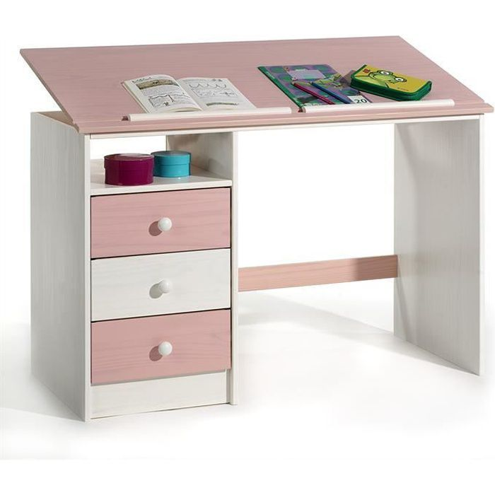 bureau enfant 3 tiroirs lasur blanc rose achat vente bureau bureau enfant 3 tiroirs las. Black Bedroom Furniture Sets. Home Design Ideas