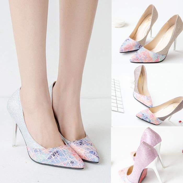 Escarpin Rose 6 Mode Paillettes simple Toe Stiletto haut Pointu talon Patchwork Asakuchi Carrière YxGeOn