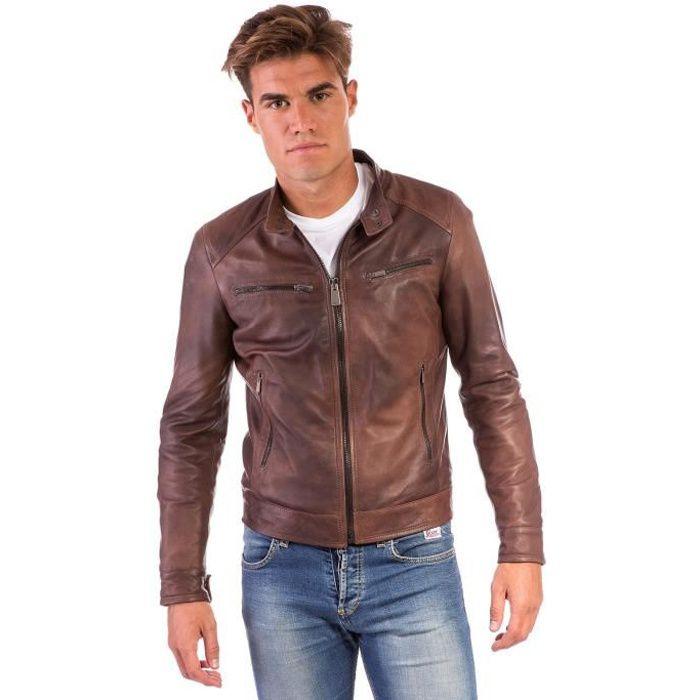 BLOUSON HAMILTON • couleur marron • Blouson cuir homme sty