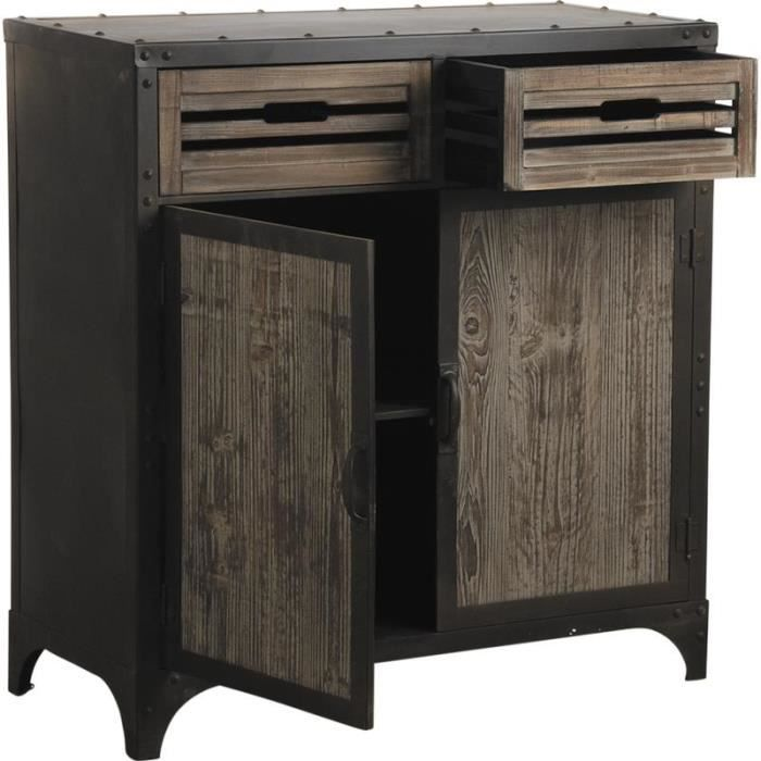 bahut en m tal et bois avec 2 tiroirs et 2 port achat. Black Bedroom Furniture Sets. Home Design Ideas