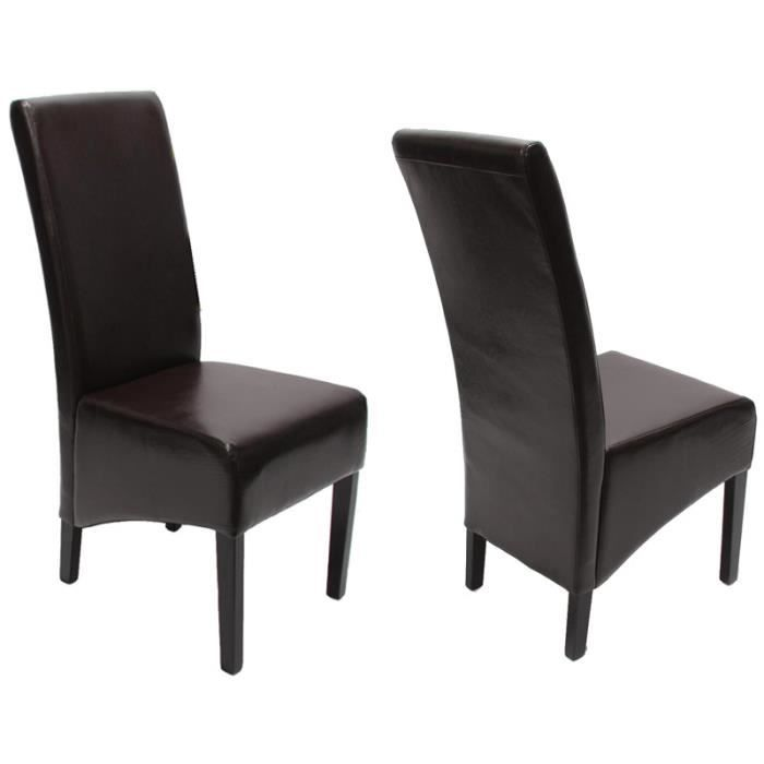lot de 2 chaises de salle manger fauteuil si achat vente chaise marron cdiscount. Black Bedroom Furniture Sets. Home Design Ideas