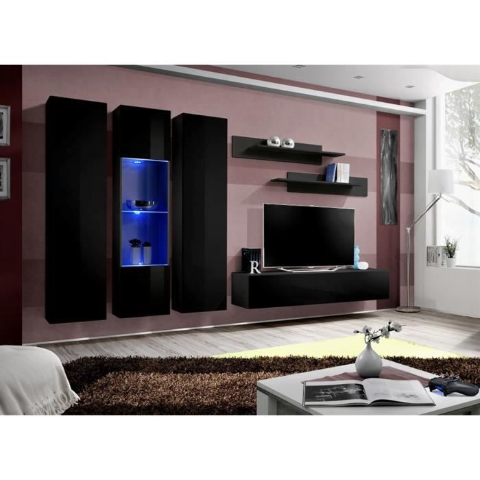 meuble tv fly c5 noir noir laqu achat vente meuble tv. Black Bedroom Furniture Sets. Home Design Ideas
