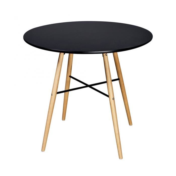 superbe table de salle manger ronde noire matte achat. Black Bedroom Furniture Sets. Home Design Ideas