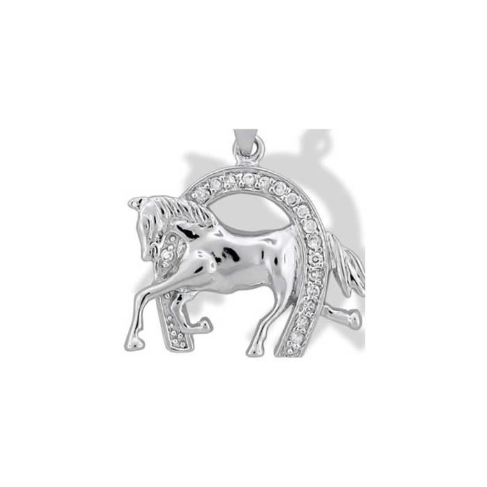 Argent 925 Bling Jewelry CZ Pendentif Fer à Cheval chanceux avec Running Horse
