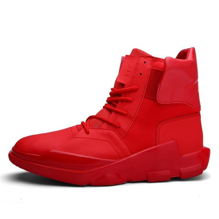 Botte Homme Velcro chaud Basketball de plate-forme pour hommes rouge taille40