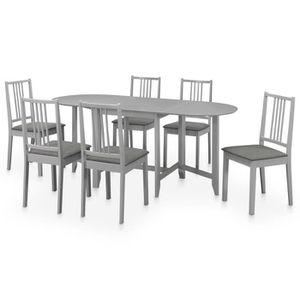 TABLE À MANGER COMPLÈTE Set 7pcs table à manger et 6 chaises Salon gris