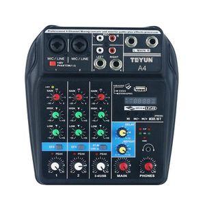 TABLE DE MIXAGE Console de mixage sonore portable BT 4 voies Conso