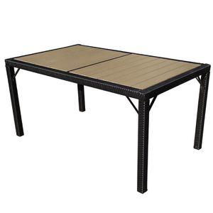 TABLE DE JARDIN 6 PLACES SALLY - PLASTIQUE GRIS NOIR L.190CM ...