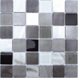 CARRELAGE - PAREMENT Mosaïque en pate de verre  30 x 30 cm - Aluminium