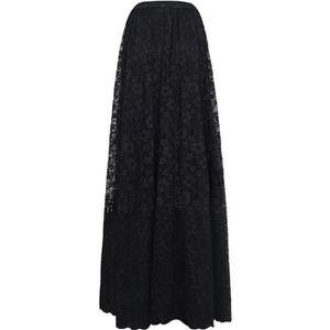 JUPE Jupe longue noire en dentelle fleurie, gothique él