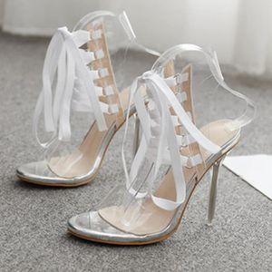 ESCARPIN Jelly PVC ouvert Toed haute Chaussures à talons fe
