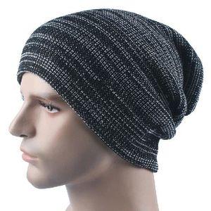 BONNET - CAGOULE Bonnet noir Chapeau à tricoter à rayures en automn
