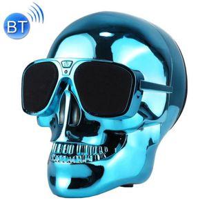 ENCEINTE NOMADE Enceinte Bluetooth bleu Haut-Parleur Stéréo Skull