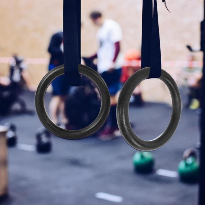 ABS gymnastique anneaux Gym Fitness Training Tool avec sangles robuste et durable pour une utilisation de longue durée noir