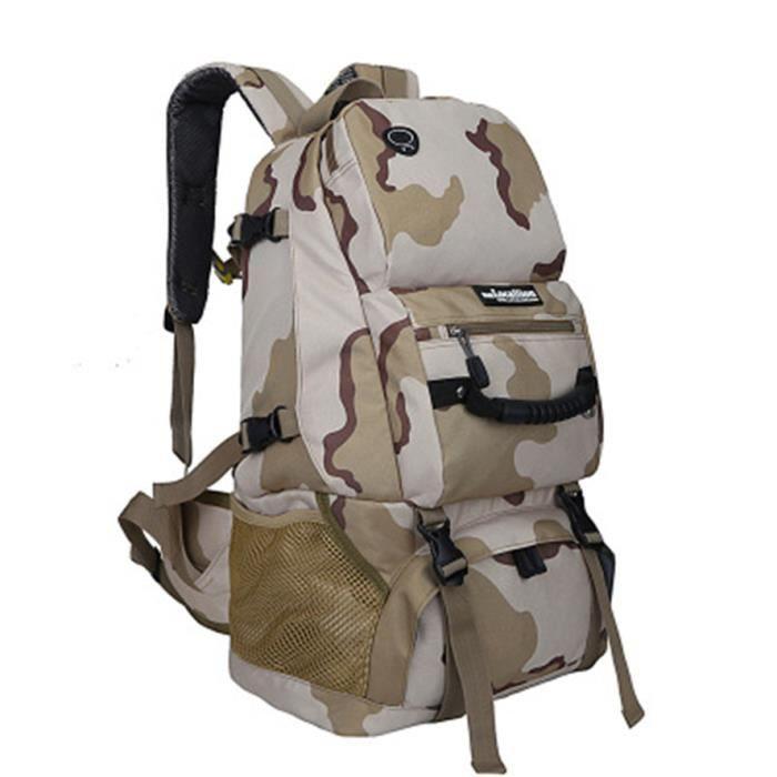Sac A Dos de Randonnée 40L Multi-Poches Imperméable Activités Extérieurs Camouflage Sansha
