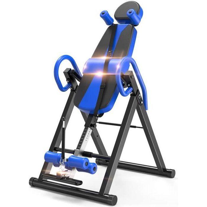 YOLEO Table d'Inversion Pliable Musculation Appareil du Dos Bras Réglable 185cm Inversion 180° Sport Exercice Maison Bureau - Bleu