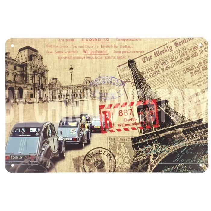 Cadre Tableau Plaque Murale métal Voiture - Tour Eiffel - Paris - rétro Vintage - 30 x 20 cm G