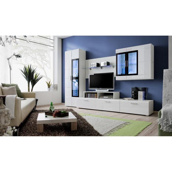 Meuble tv complet KRONOS 2 laqué blanc+ led