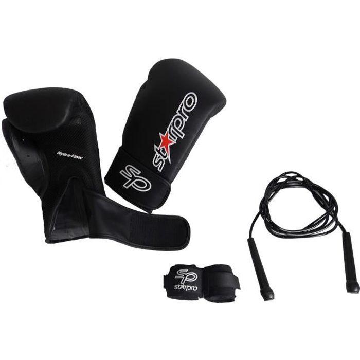 Kit de boxe : Gants de boxe, corde à sauter, bandes Noir