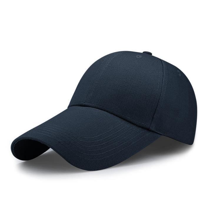 leghth 11cm navy 55-60cm -Casquette de Baseball à visière longue pour homme, chapeau de pêche, grande taille, décontracté, Cool, 55