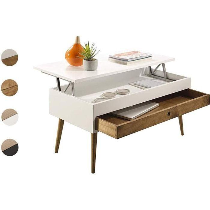 TABLE BASSE Hogar24 ES Table basse relevable style vintage avec tiroir coulissant en bois massif Blanc-bois naturel 100 x 50 x 4334