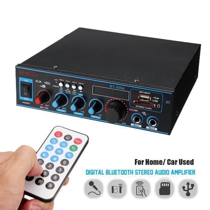 TEMPSA Bluetooth Amplificateur Hi-Fi Stéréo 12V - 220V FM USB SD MP3 Audio Lecteur - Ampli Maison Voiture Auto