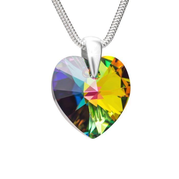 LillyMarie Femme Argent Collier Sterling Swarovski Elements Originaux Cœur Multicolore Longueur Réglable Écrin Bijoux Cadeaux de