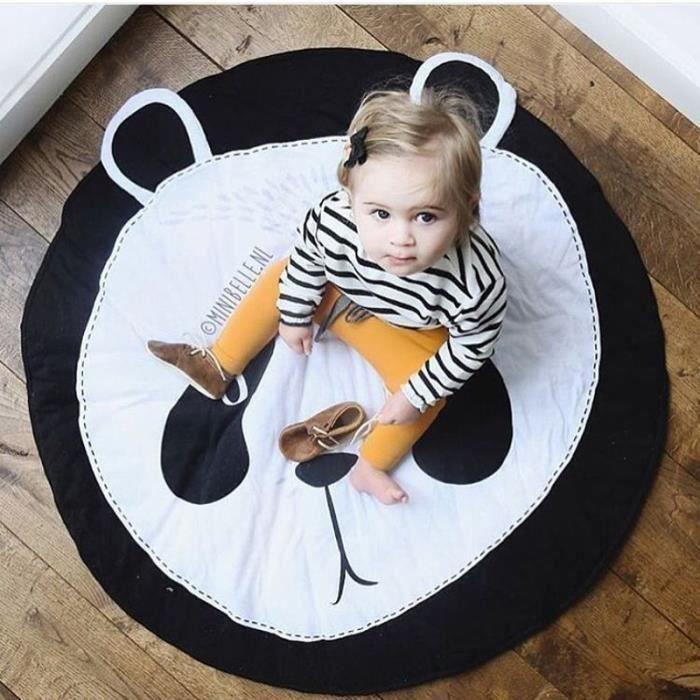 Tapis Éveil Motif Panda Tapis de Jeu Pr Bébé Tapis Rond en Coton Doux Décoration de Salle b17918 AAA101223