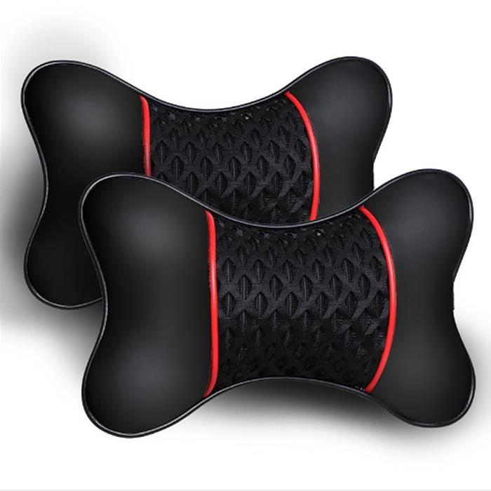 2 pièces d'oreiller de voiture en cuir PU tricoté, appui-tête, minerve, accessoires de siège, confort du conducteur et du passager