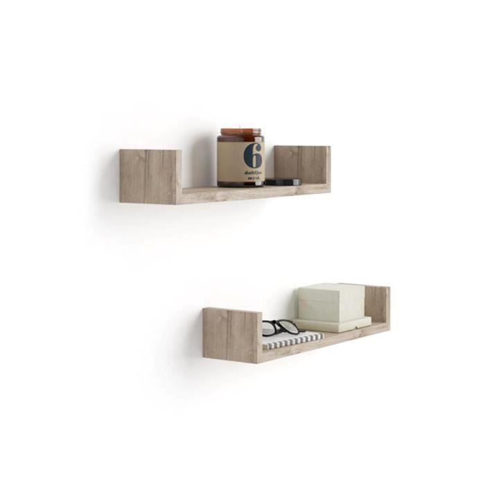 Mobili Fiver, Paire d'étagères en -U-, Iacopo, en Mélaminé, Chêne Naturel, Mélaminé, Made in Italy