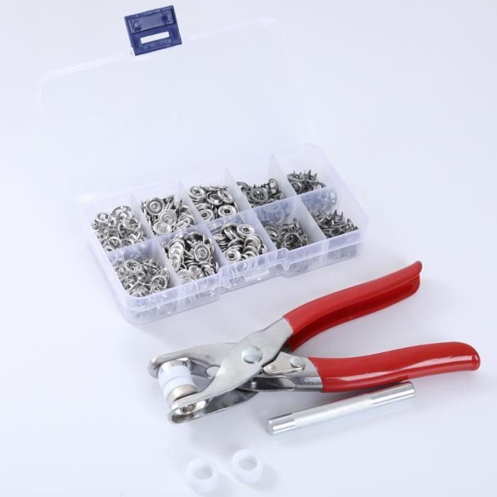 Fermeture Boutons,Pince à boutons à pression de 9.5mm + 1 boîte de 100 boutons, outil de couture - Type Gray and tool