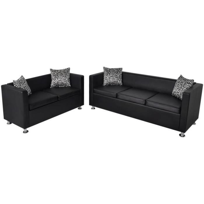 Top confort - Ensemble Canapés relax - Jeu de canapé à 2 places et à 3 places Cuir synthétique Noir - Divan - Sofa - Canapé FLO1679
